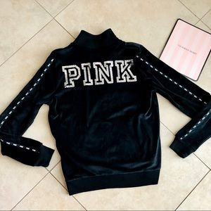 VS PINK Sequins Logo Full Zip Velour Track Jacket